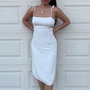 Tie shoulder white midi dress cutout cottoncandyla